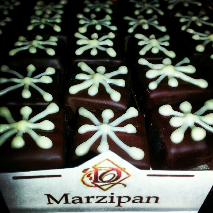 Marzipan chocolate at Downtown Chocolates in Brevard NC