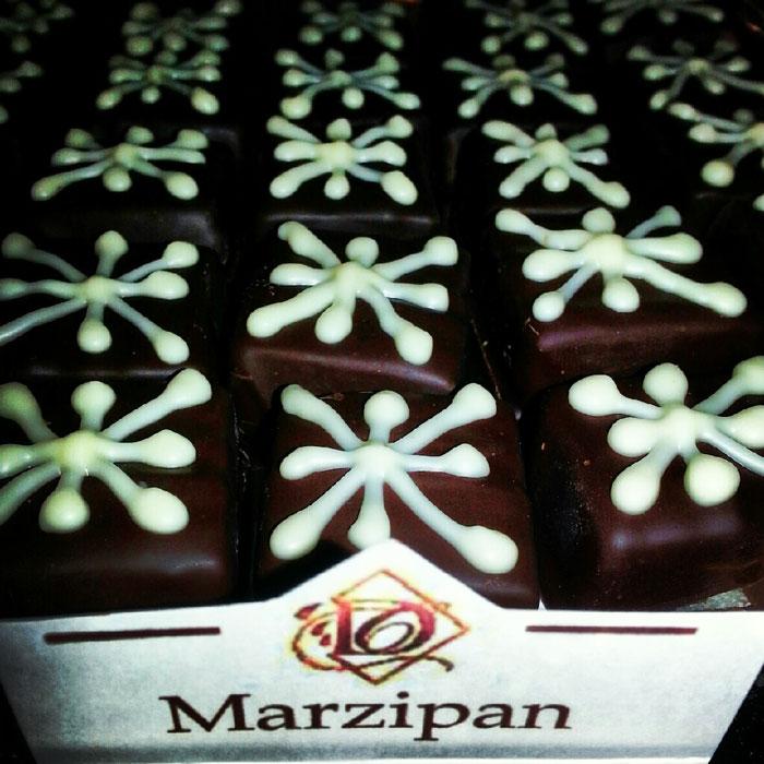 Marzipan chocolate at Downtown Chocolates in Brevard NC