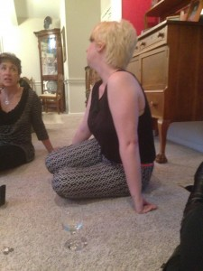 Nadine chatting with Kelly about healing stones