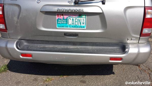 asheville cabin license plate
